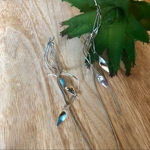 Jewelry - New! Silver Branch Earrings with Long Tassels